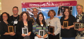 Team members from CCSF and EVC CalWomenTech Sites receive WomenTech Hall of Fame Awards
